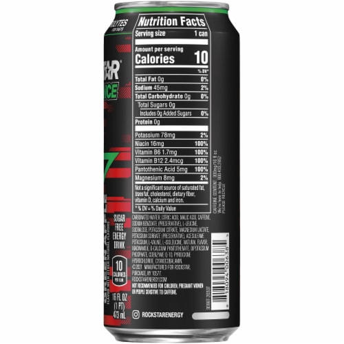 Rockstar XDurance Super Sours Green Apple Energy Drink Perspective: right