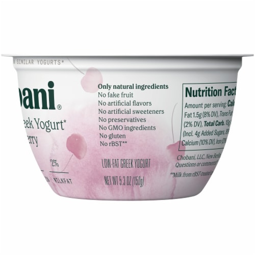 Chobani Less Sugar Gili Cherry Greek Yogurt Perspective: right