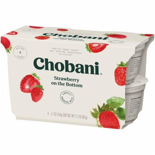 Chobani Strawberry on the Bottom Non-Fat Greek Yogurt Perspective: right