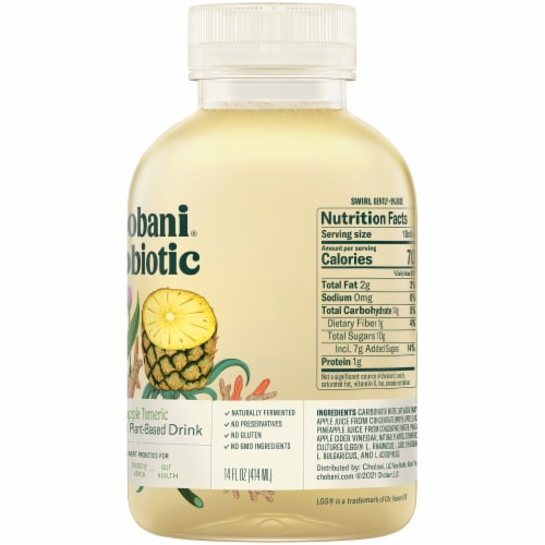Chobani Probiotic Pineapple Turmeric Plant-Based Drink Perspective: right
