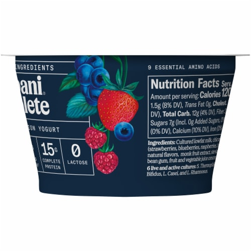 Chobani Complete Ultra Cup Mixed Berry Yogurt Perspective: right