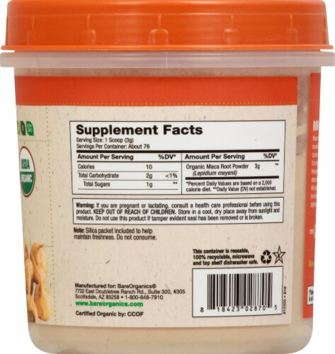 BareOrganics Maca Root Powder Dietary Supplement Perspective: right