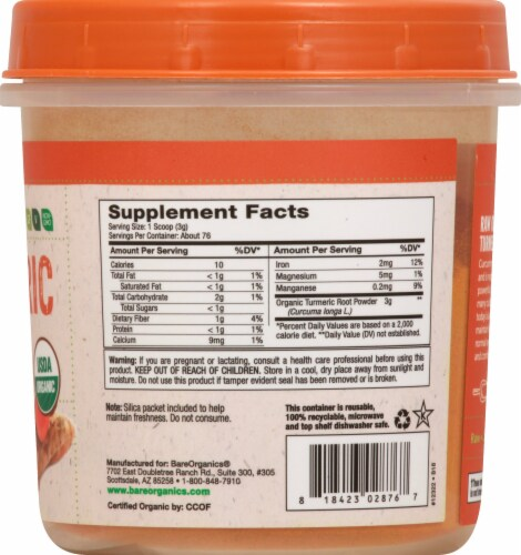 BareOrganics Turmeric Root Powder Dietary Supplement Perspective: right