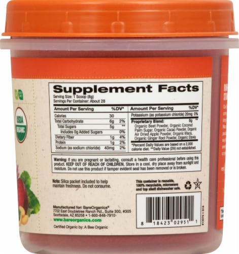 BareOrganics Energy & Stamina Blend Dietary Supplement Perspective: right