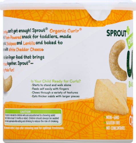 Sprout Organic White Cheddar Curlz Backed Toddler Snacks Perspective: right