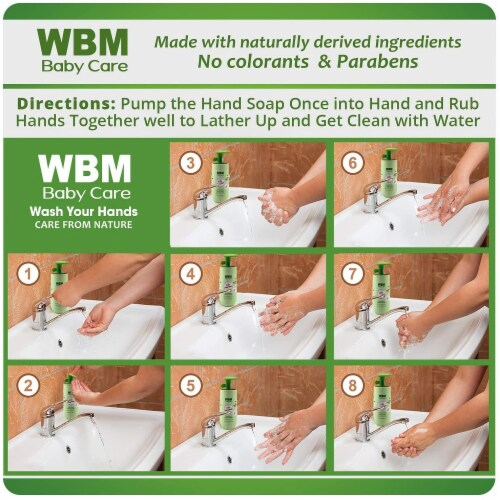 WBM Baby Care Hand Soap - Natural Liquid Soap with Honey, Wheat germ & Olive Oil - 6.8 oz Perspective: right