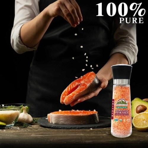 Himalayan Chef Organic Lemon Peel & Pink Himalayan Salt, Refillable Glass Grinder-12.5Oz Perspective: right