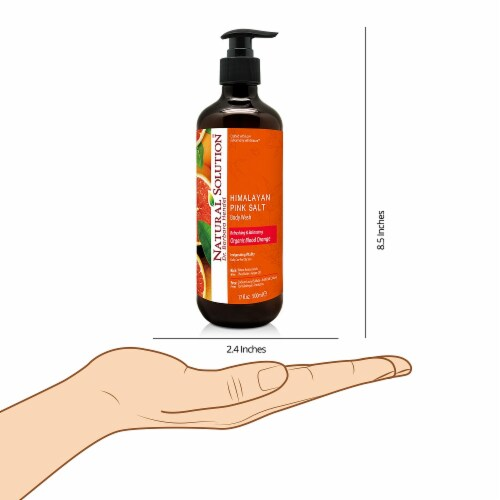 Natural Solution Body Wash, Purifying Pink Salt, Best for All Skin Types, Blood Orange–Pack 6 Perspective: right