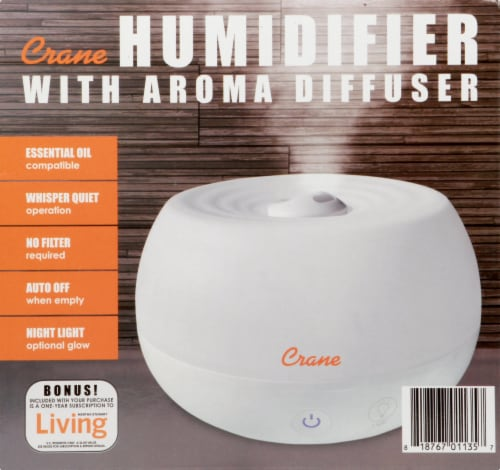 Crane Ultrasonic Cool Mist Personal Humidifier & Diffuser - White Perspective: right