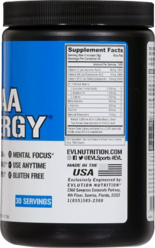 Evlution Nutrition BCAA Energy Blue Raz Flavor Dietary Supplement Powder Perspective: right