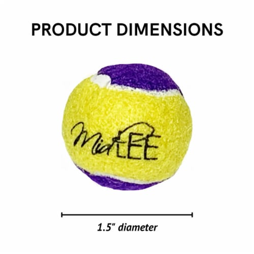Midlee Squeaky Mini Tennis Ball for Dogs 1.5 - Pack of 12 (Yellow/Purple) Perspective: right