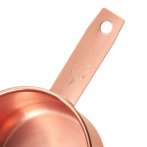 4-Piece Set of Stainless Steel Copper-Plated Measuring Cup Set for Baking, Cooking Perspective: right