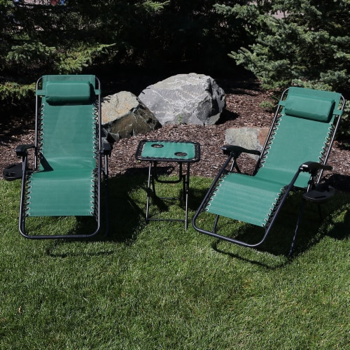 Sunnydaze Zero Gravity Lounge Lawn Chair and Side Table Set - Forest Green Perspective: right