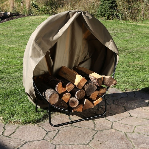 """Sunnydaze Firewood Log Hoop Holder with Khaki Cover Outdoor Black Steel - 40"""" Perspective: right"""