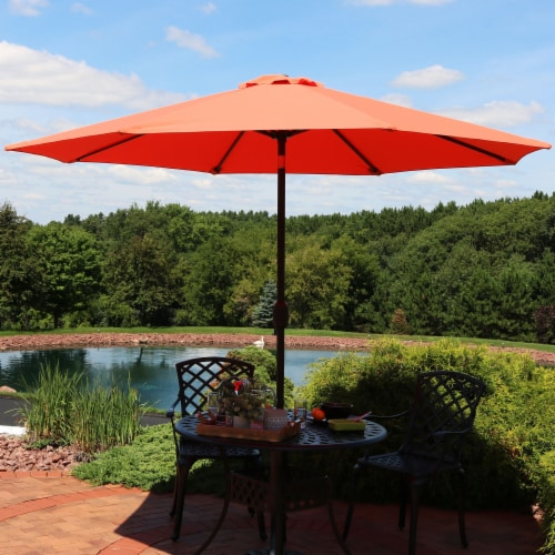 Sunnydaze 9' Fade Resistant Outdoor Patio Umbrella with Auto Tilt - Burnt Orange Perspective: right
