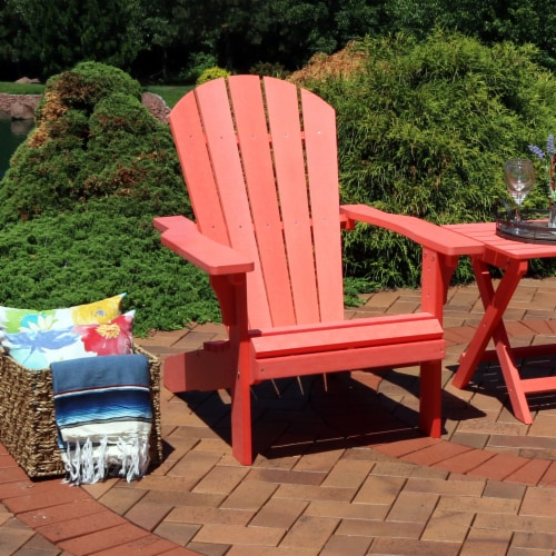 Sunnydaze All-Weather Outdoor Patio Adirondack Chair w/ Faux Wood Design -Salmon Perspective: right