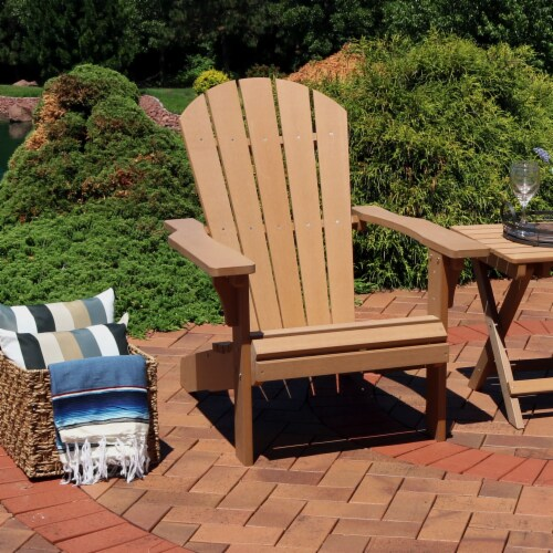 Sunnydaze All-Weather Patio Adirondack Chair with Faux Wood Design - Brown Perspective: right
