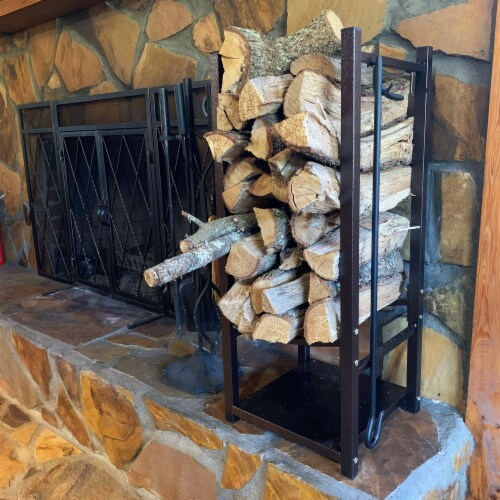 Sunnydaze Log Rack with Tool Holders Steel with Bronze Finish Firewood Storage Perspective: right