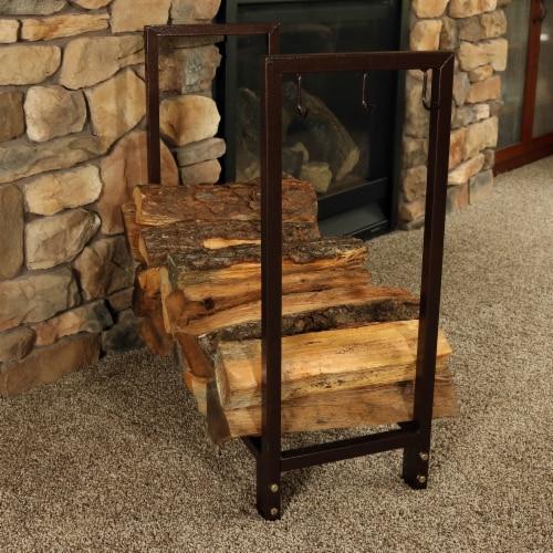"Sunnydaze Log Rack 30"" Steel with Bronze Finish Indoor-Outdoor Firewood Storage Perspective: right"