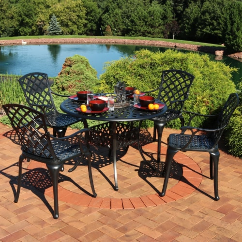 Sunnydaze Patio Table and 4 Chairs Set - Cast Aluminum with Crossweave Design Perspective: right