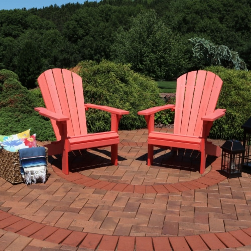 Sunnydaze All-Weather Outdoor Adirondack Chair - 2 PK - Faux Wood Design -Salmon Perspective: right
