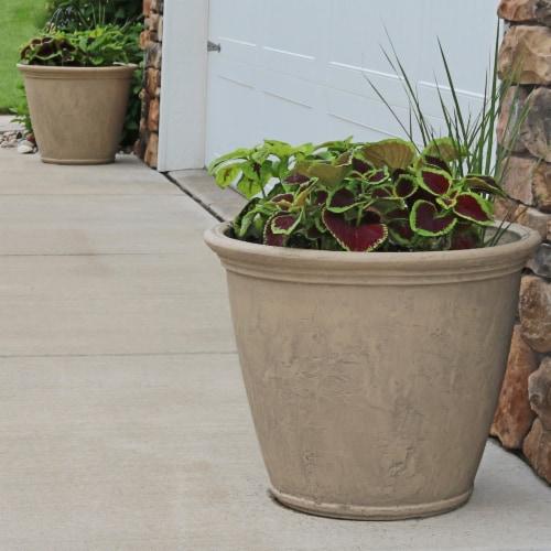 "Sunnydaze Anjelica Outdoor Double-Walled Flower Pot Planter - Beige - 24"" - 2-PK Perspective: right"