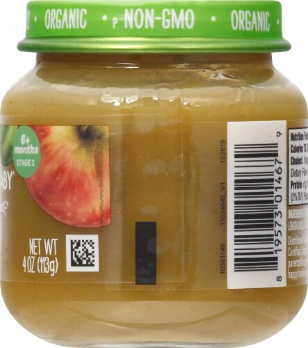 Happy Baby® Organics Stage 2 Apples & Spinach  Baby Food Perspective: right