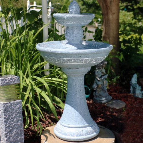"""Sunnydaze Dual Pineapple Solar Outdoor Water Fountain with Battery 34"""" with LED Perspective: right"""