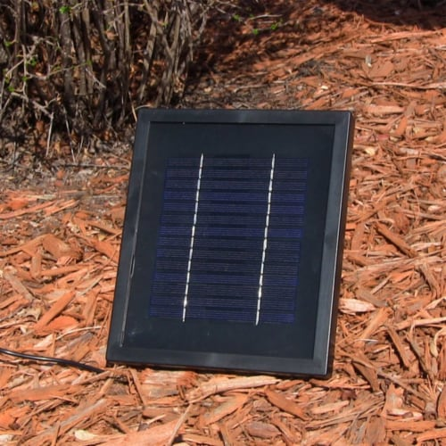 """Sunnydaze Seaside Solar-Only Outdoor Wall Water Fountain - 27"""" - Iron Finish Perspective: right"""