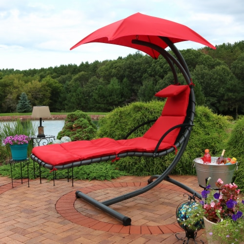 Sunnydaze Hanging Floating Chaise Lounge Patio Swing Chair with Canopy - Red Perspective: right