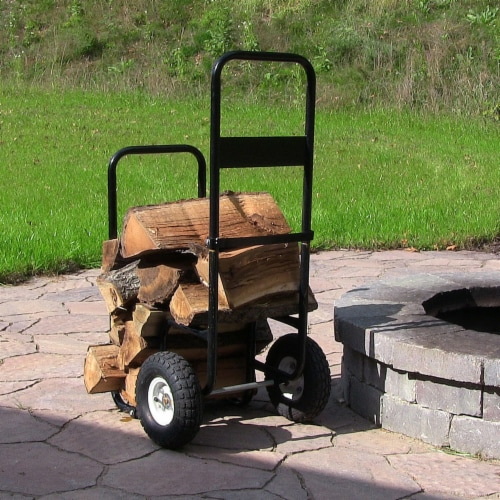 Sunnydaze Log Cart Steel Heavy-Duty Rolling Wheeled Firewood Carrier Dolly Perspective: right