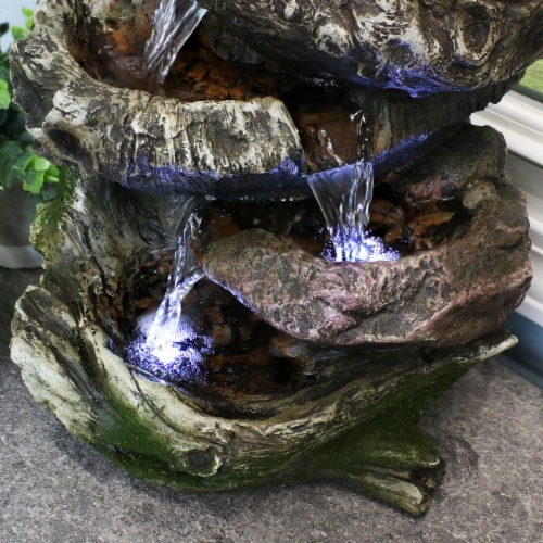 """Sunnydaze 5 Step Rock Falls Tabletop Indoor Fountain Feature w/ LED Lights - 14"""" Perspective: right"""