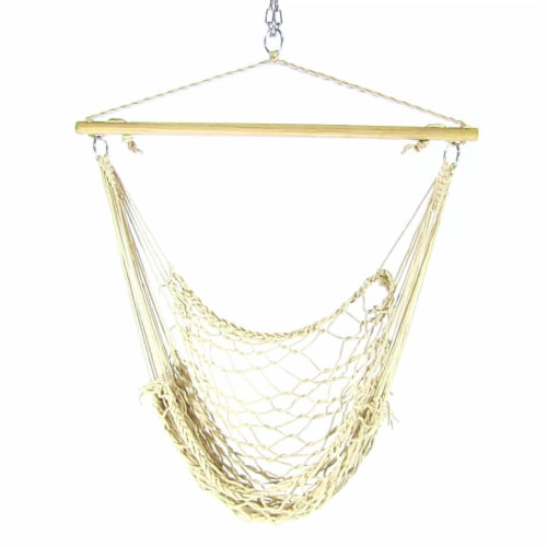 Sunnydaze Cotton Rope Hanging Hammock Chair Swing with C-Stand - 300-Pound Limit Perspective: right
