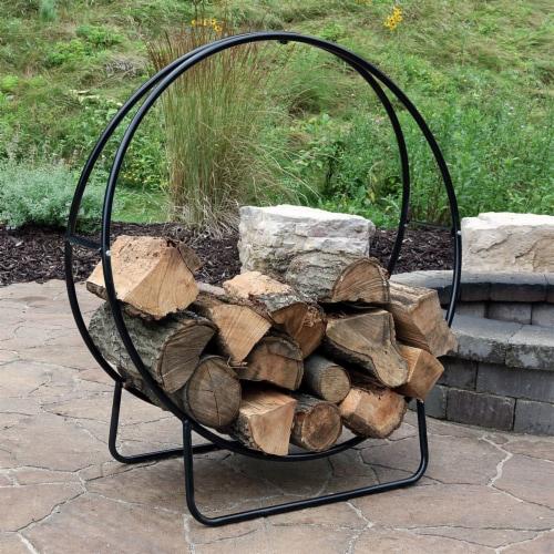 "Sunnydaze Firewood Log Hoop Holder with Black Cover Outdoor Black Steel - 40"" Perspective: right"