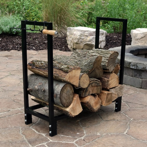 """Sunnydaze Firewood Steel Log Rack Storage Holder with Black PVC Cover - 30"""" Perspective: right"""