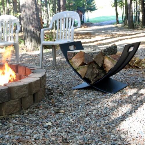 "Sunnydaze Log Rack 30"" Black Steel Holder Firewood Storage Fireplace Accessory Perspective: right"