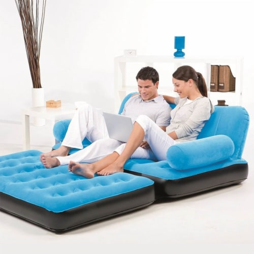 Bestway Multi Max Inflatable Air Couch or Double Bed with AC Air Pump, Blue Perspective: right