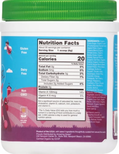Amazing Grass Kidz SuperFood Wild Berry Drink Powder Perspective: right