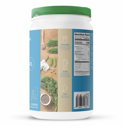 Amazing Grass Organic Simply Vanilla Protein & Kale Nutrition Shake Powder Perspective: right