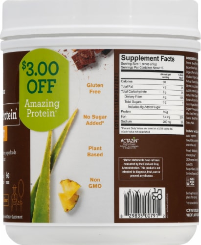 Amazing Grass Amazing Protein Digest Mayan Chocolate Dietary Supplement Powder Perspective: right