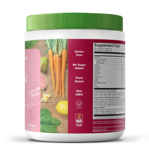 Amazing Grass Beauty Strawberry Lemonade Green Superfood Dietary Supplement Powder Perspective: right