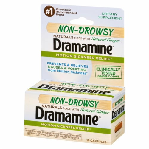 Dramamine Non-Drowsy Natural Ginger Motion Sickness Relief Capsules Perspective: right