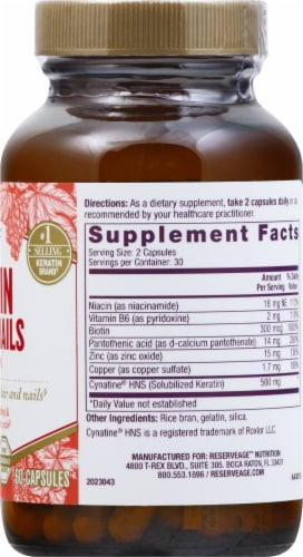 Reserveage Nutrition™ Keratin Hair & Nails Capsules Perspective: right