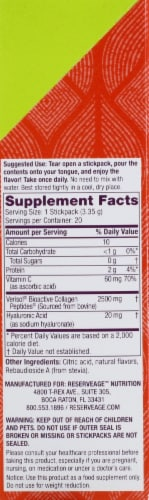 Reserveage Nutrition Sour Apple Collagen Candy Dietary Supplement Sticks Perspective: right