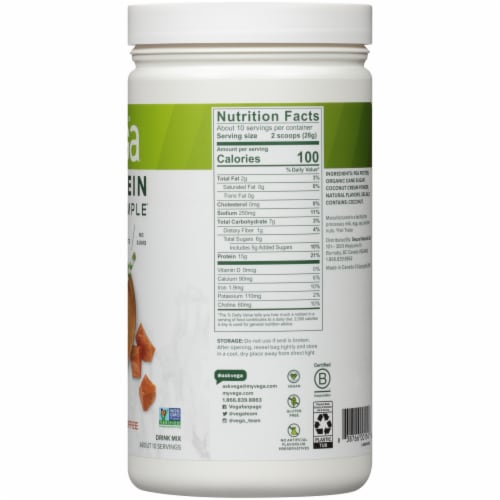 Vega Protein Made Simple Caramel Toffee Drink Mix Perspective: right