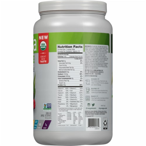 Vega Organic Berry All-in-One Shake Drink Mix Perspective: right