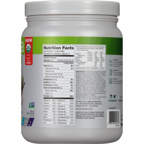 Vega One Organic French Vanilla Flavored All-In-One Shake Drink Mix Perspective: right
