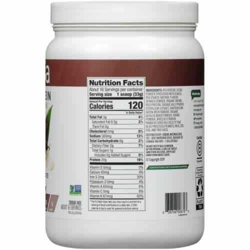 Vega Protein & Greens Plant-Based Chocolate Flavored Drink Mix Powder Perspective: right