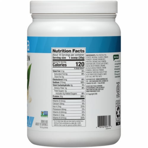 Vega Protein & Greens Plant-Based Vanilla Flavored Drink Mix Powder Perspective: right
