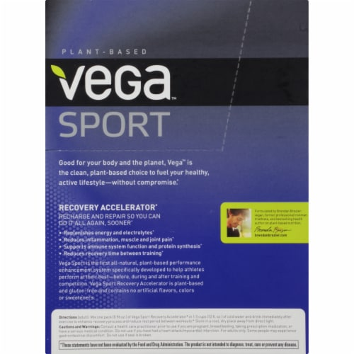 Vega Sport Plant-Based Recovery Accelerator Tropical Powder Packs 12 Count Perspective: right
